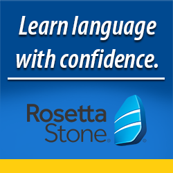 Learn langauge with confidence Rosetta Stone banner.