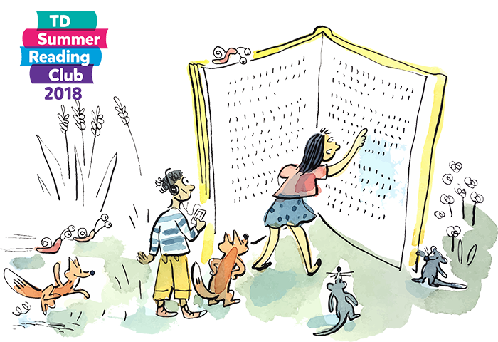 Colourful Summer Reading Club graphic of children and animals reading a large book.