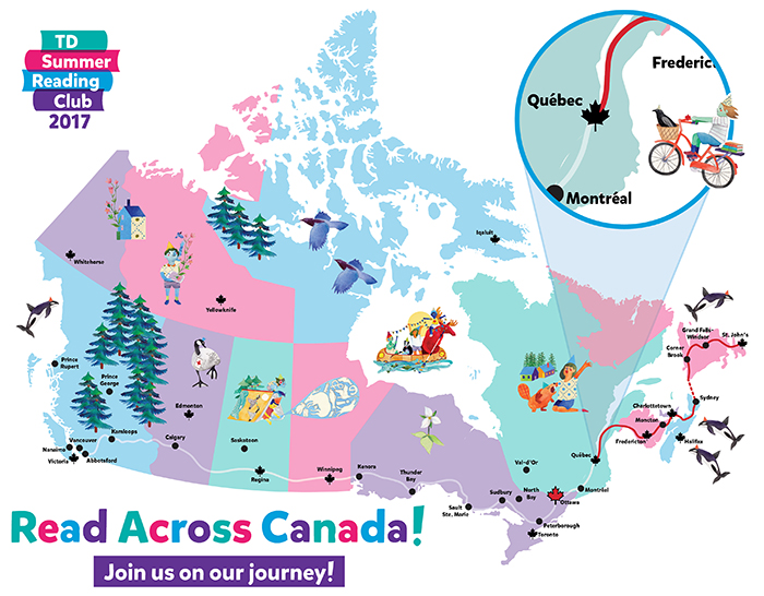 Colourful illustrated map of Canada showing reading progress.