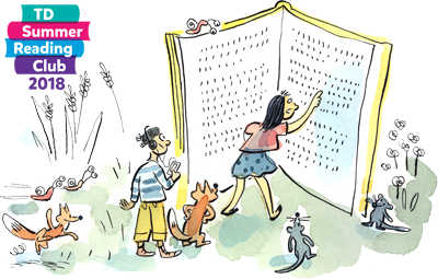 Summer Reading Club illustration of children and animals reading a large book.