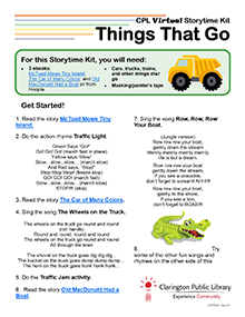 Virtual Storytime Kit, Things That Go.