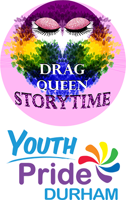 Durham Drag Queen Storytime Owl and Youth Pride logos.