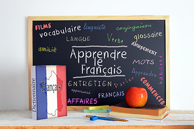 Chalkboard with French writing and a French dictionary.