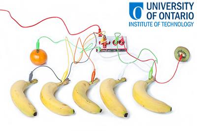 Fruit piano made with Makey Makey.