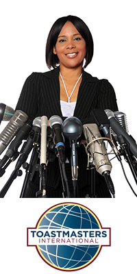 Woman at microphones, and Toastmasters International logo.
