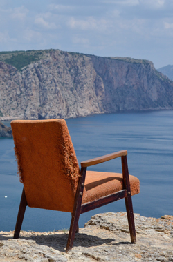 Armchair overlooking a cliff.