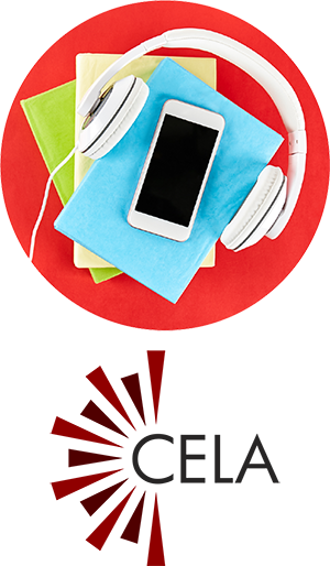 smart phone with headphones resting on top of a pile of books, with the CELA logo.
