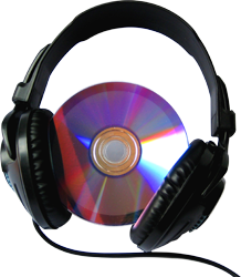 disc with headphones.