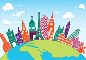 colourful illustration of landmarks and globe.