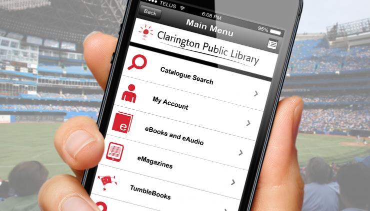 Library's app on a smart phone.
