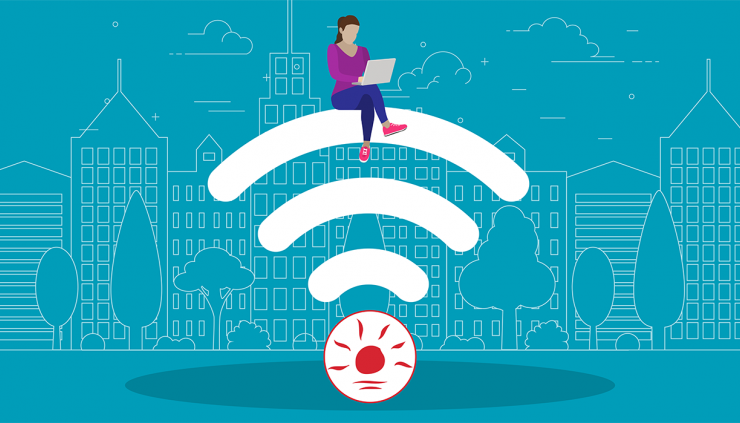person sitting on wifi symbol.