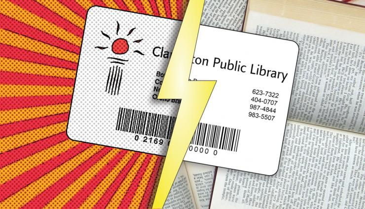 Comic book and real versions of a library card.